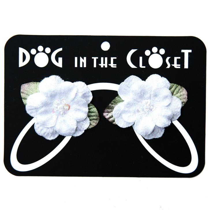 White velvet flower hair clips.
