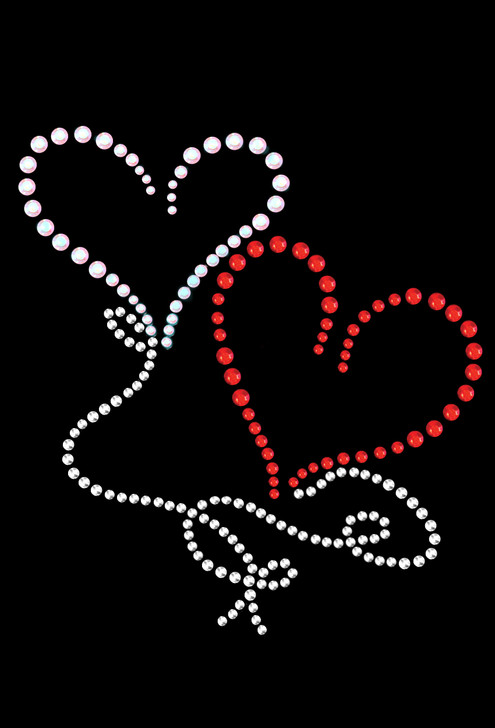 """Floating Hearts Rhinestone dog tank for large and small dogs. 4"""" X 4.25"""" design with red AB, red, & silver Swarovski rhinestones, rhinestuds, & nailheads."""