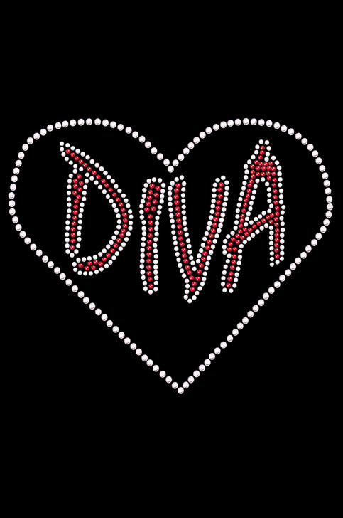 "Diva Heart Rhinestone dog tank for large and small dogs. 6"" X 5"" design with red & clear rhinestones. Matching rhinestone t-shirts for pet owners. Over 800 rhinestone designs to choose from."