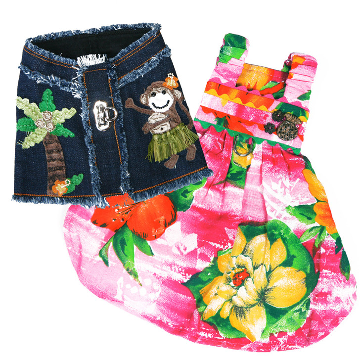 Layer the Lahaina Hula Monkey Denim Harness Vest with the Pink Lahaina Hawaiian Dress.