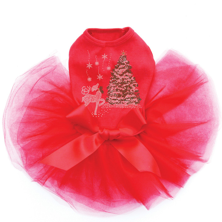 Christmas Tree with Reindeer - Red Tutu