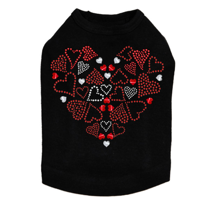 Red Heart with Hearts - Dog Tank