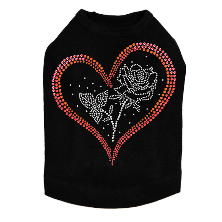 Heart with Rose - Dog Tank