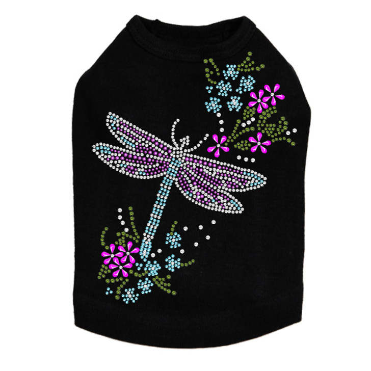 Dragonfly with Flowers - Dog Tank