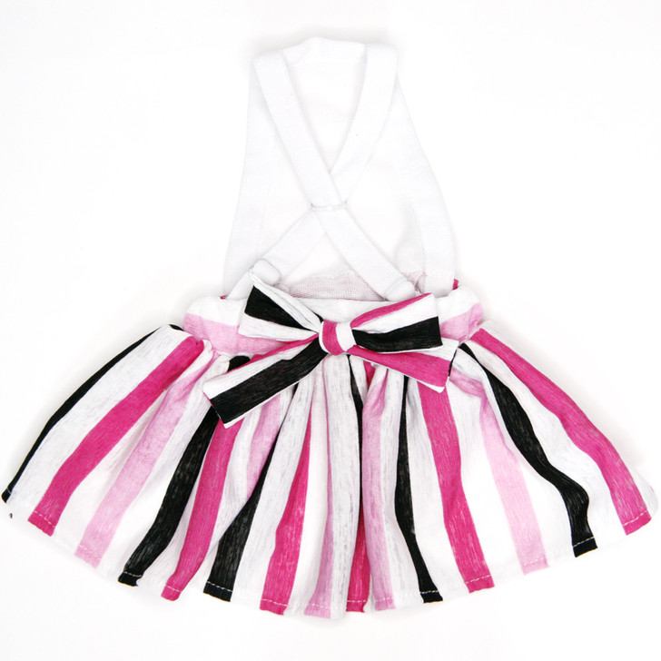 Pink and black striped skirt or sundress.