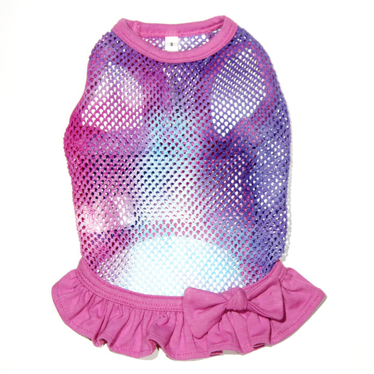 Super light weight fishnet dress in tie dyed colors of purple, fuchsia and turquoise.