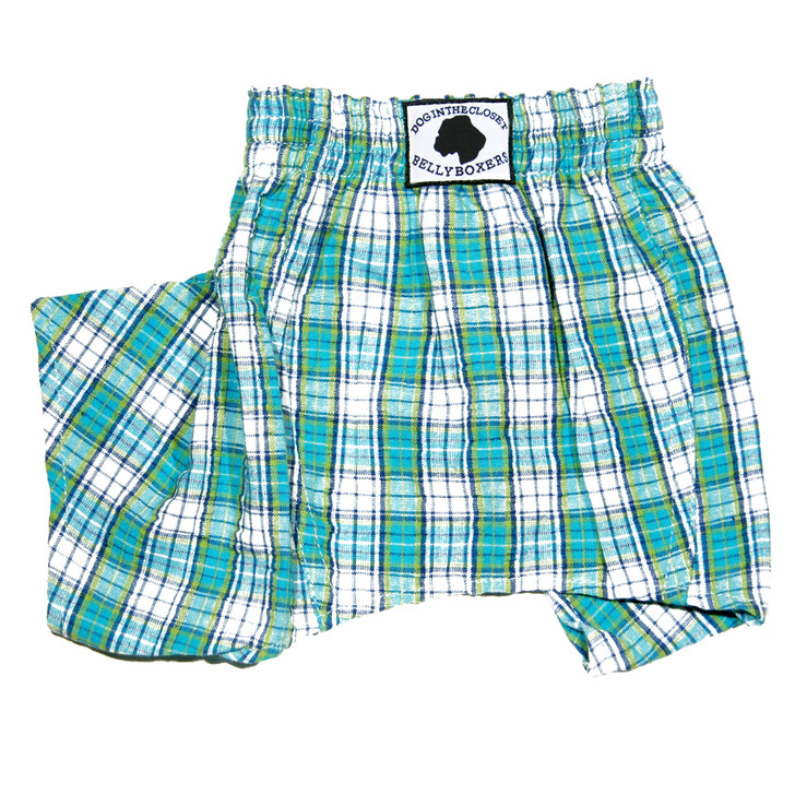 Blue Seersucker Plaid Belly Boxer Shorts for Dogs