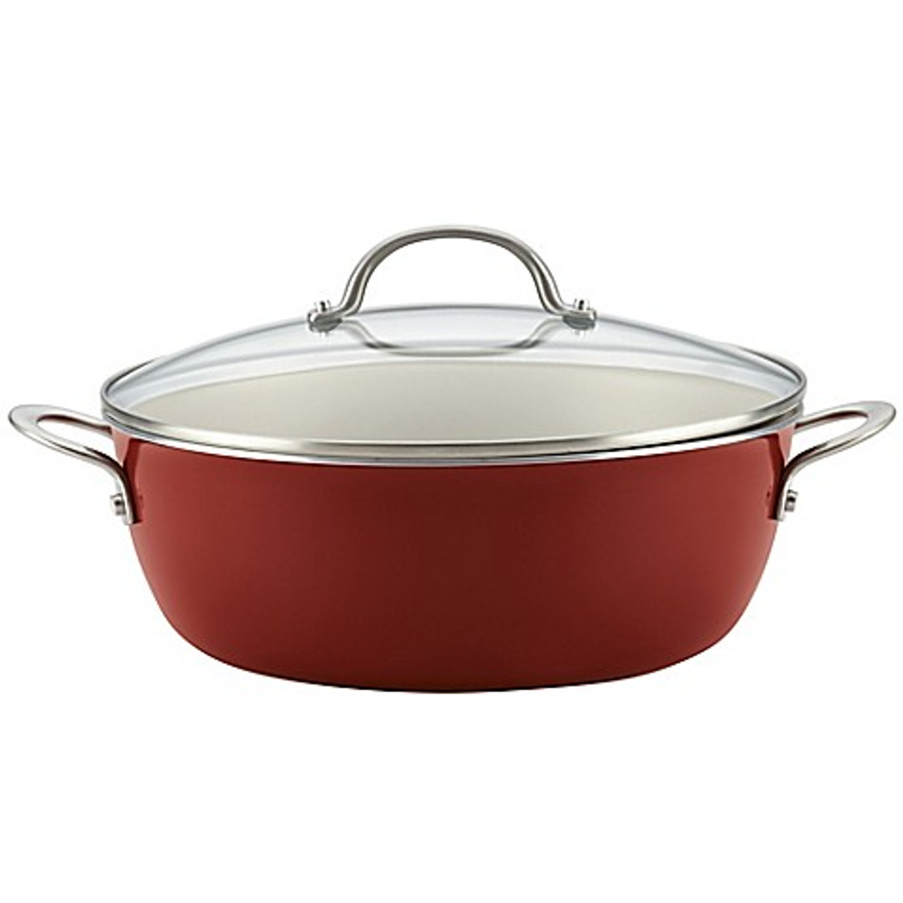 Ayesha Curry™ Porcelain Enamel Nonstick 5.5 qt. Covered Stock Pot in Sienna  Red