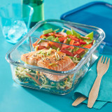 Pyrex® MealBox™ 5.5-cup Divided Glass Food Storage Container with Blue Lid