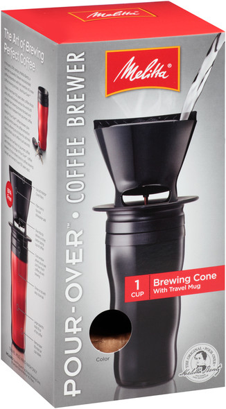 Melitta® Pour-Over Coffee Brewer with Travel Mug in Black