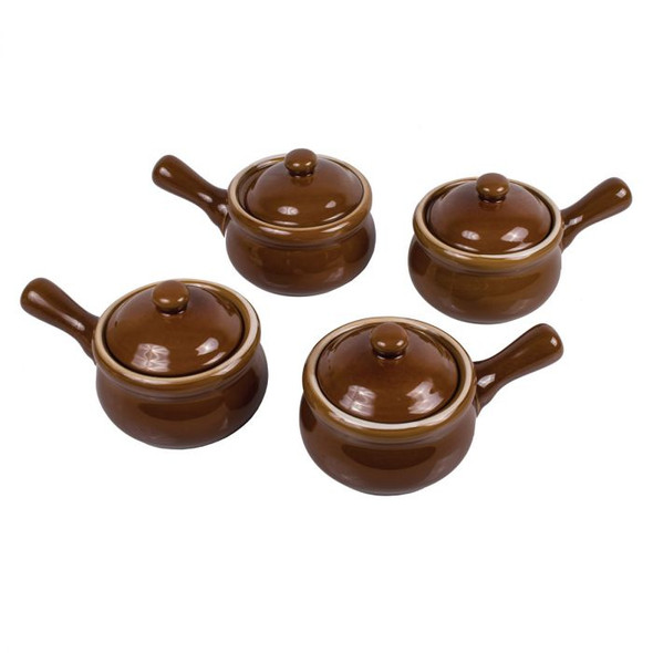 HIC Kitchen 14 oz. French Onion Soup Crocks with Lids (Set of 4)