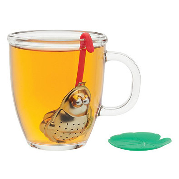 Stainless Steel Frog Tea Infuser with Lily Pad Drip Tray