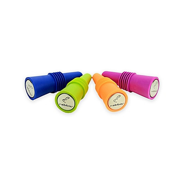 Rabbit® Brand Wine Bottle Stoppers in Assorted Colors (Set of 4)