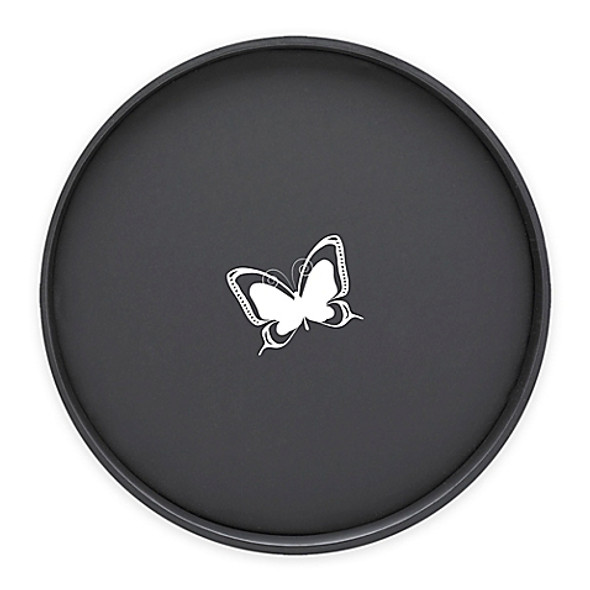 Kraftware™ Kasualware Butterfly Round Serving Tray in Black
