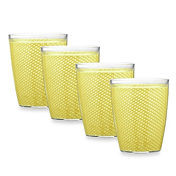 Kraftware™ Fishnet 14 Oz. Doublewall Drinkware in Lemon (Set of 4)