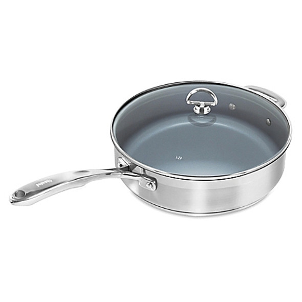 Chantal® Nonstick Ceramic Coated Induction 21 Steel™ 5 qt. Covered Saute Pan