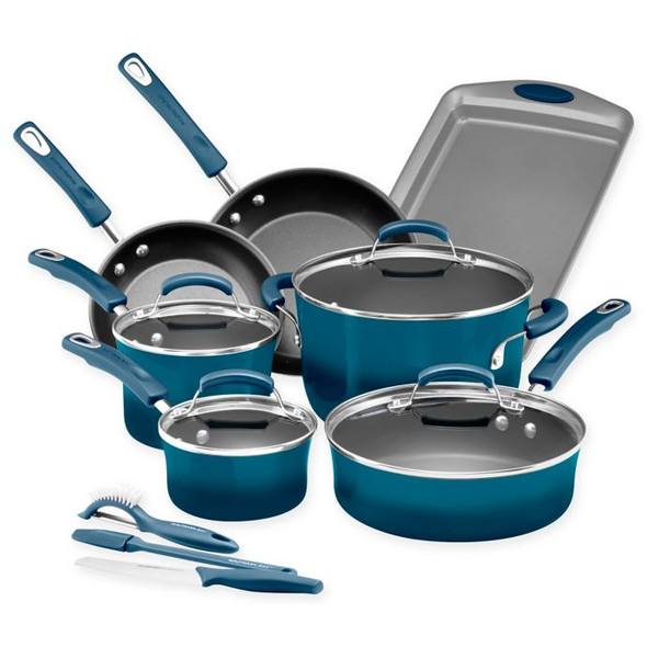 Rachael Ray™ Classic Brights Nonstick Hard Enamel 14-Piece Cookware Set in Marine Blue