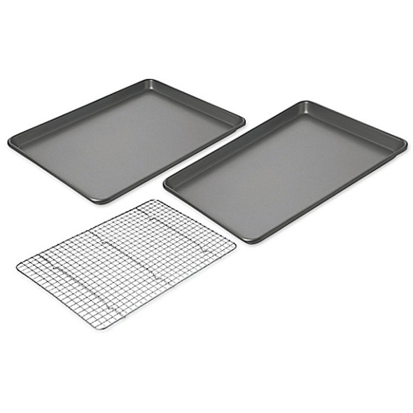Chicago Metallic™ Professional Nonstick 3-Piece Cookie/Jelly Roll and Cooling Grid