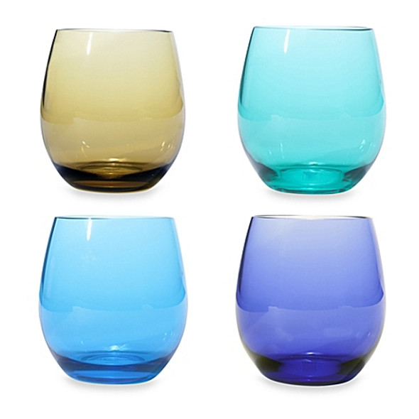 Oenophilia Stemless Wine Glass Set in Jeweltone Colors (Set of 4)