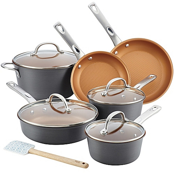 Ayesha Curry™ 11-Piece Hard-Anodized Aluminum Nonstick Cookware Set in Charcoal Grey