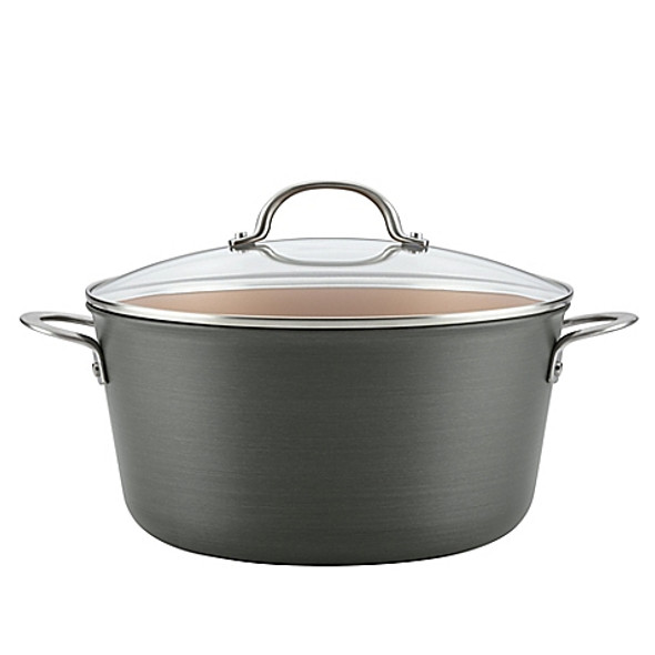 Ayesha Curry™ Hard-Anodized Aluminum Nonstick 10 qt. Covered Stock Pot in Charcoal Grey