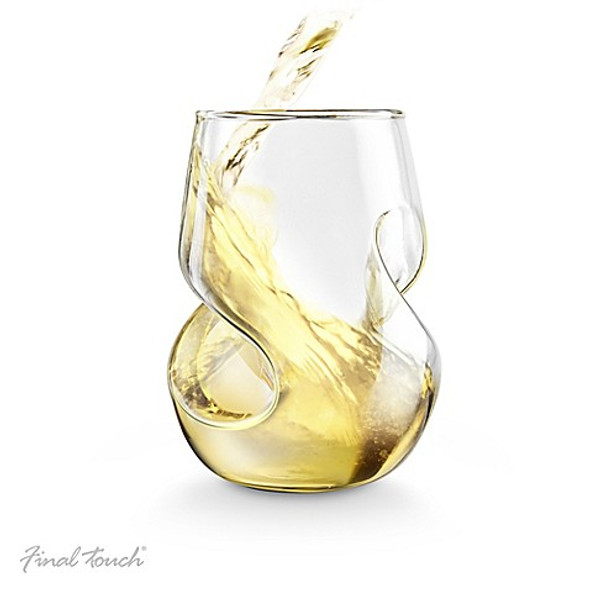 Final Touch Conundrum Stemless White Wine Glasses (Set of 4)