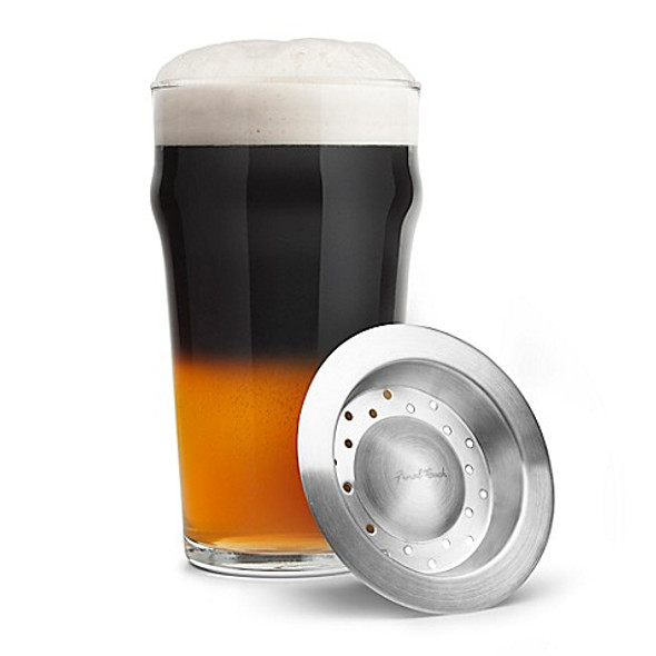 Final Touch Black and Tan Beer Separator with Glass