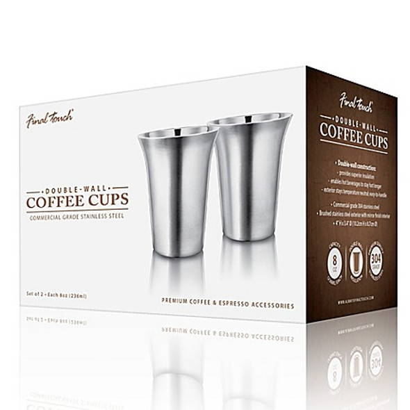 Final Touch® 8 oz. Double-Wall Cappuccino Cup in Stainless Steel (Set of 2)