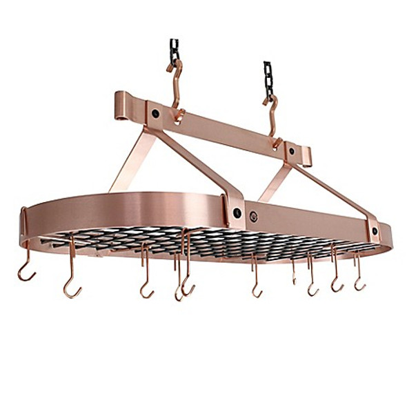 Enclume® 36-Inch Oval Hanging Pot Rack in Brushed Copper
