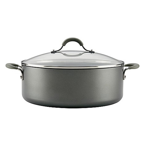 Circulon® Elementum Hard Anodized Nonstick 7.5 qt. Covered Stock Pot in Oyster Grey