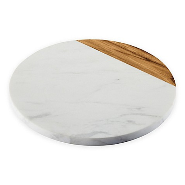 Anolon® Pantryware 10-Inch Round Serving Board in White Marble/Teak