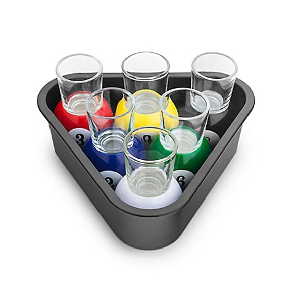 Final Touch® 7-Piece Pool Ball Shot Glass and Rack Tray Set
