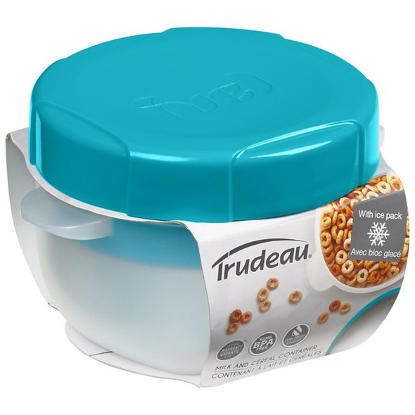 Trudeau 17 Oz. 2-Piece Milk and Cereal Container in Tropical Blue