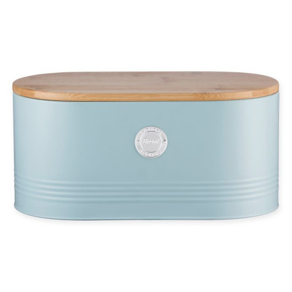 Typhoon® Living Storage Tin Bread Bin in Blue with Bamboo Lid