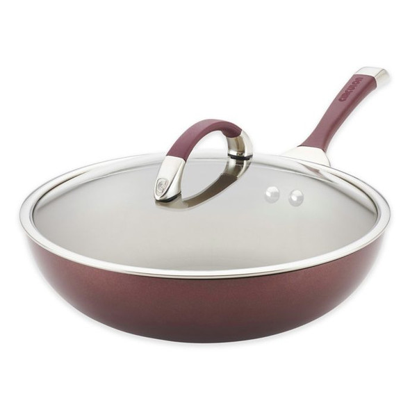 Circulon® Symmetry™ Nonstick 12-Inch Hard-Anodized Covered Essential Pan in Merlot