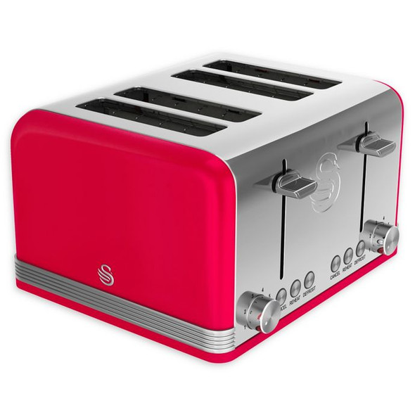 Swan® Retro Style 4-Slice Toaster in Red