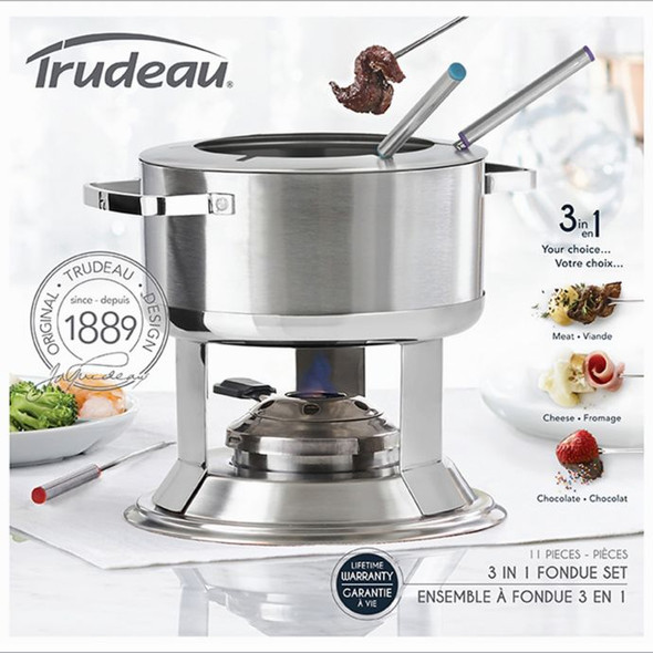Trudeau® Camelia 3-in-1 Stainless Steel Fondue Set