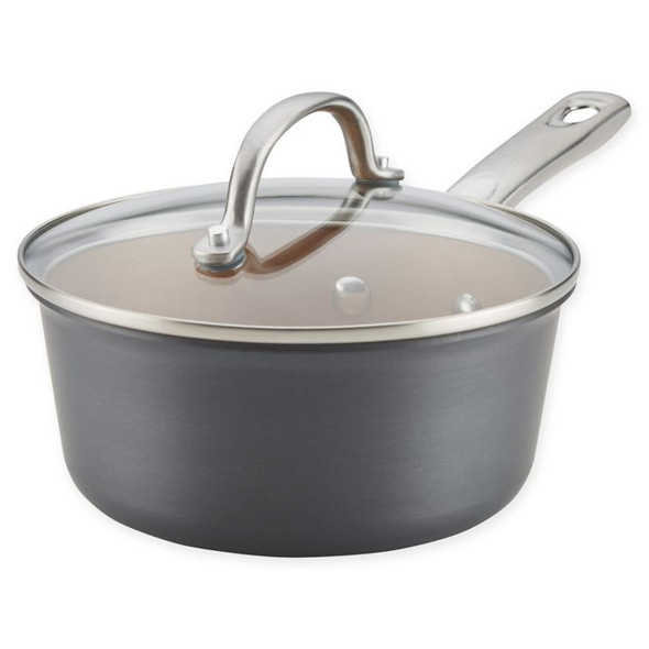 Ayesha Curry™ 2 qt. Porcelain Enamel Nonstick Covered Saucepan in Grey