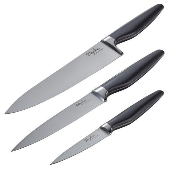 Ayesha Curry™ 3-Piece Japanese Steel Cooking Knife Set in Charcoal/Grey