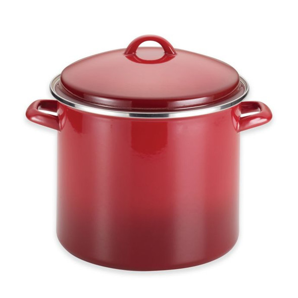 Rachael Ray™ Enamel on Steel 12-Quart Covered Stockpot in Gradient Red
