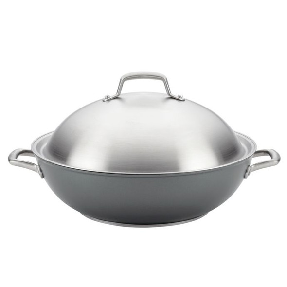 Anolon® Accolade Nonstick 13.5-Inch Hard-Anodized Covered Wok in Moonstone