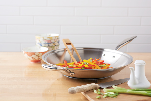 Hammer Stahl Heritage Steel 13.5-Inch Shallow Wok with Cover