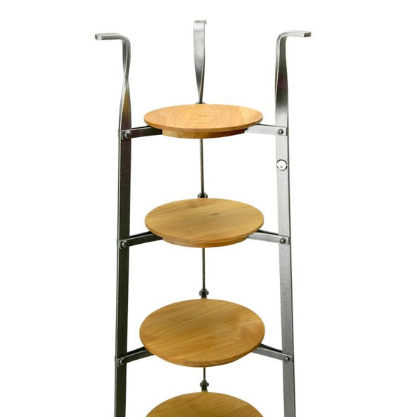 Enclume® 6-Tier Hammered Steel Standing Pot Rack with Alder Shelves