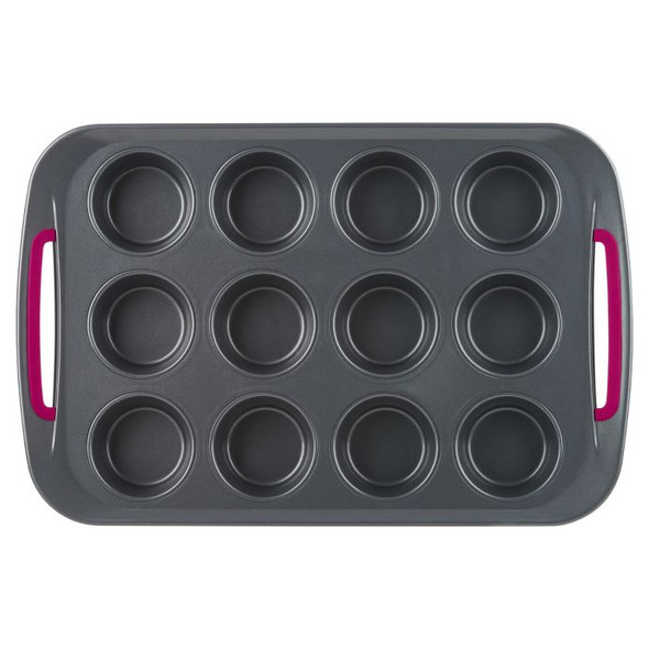 Trudeau® Nonstick 12-Cup Carbon Steel Muffin Pan in Grey/Fuchsia