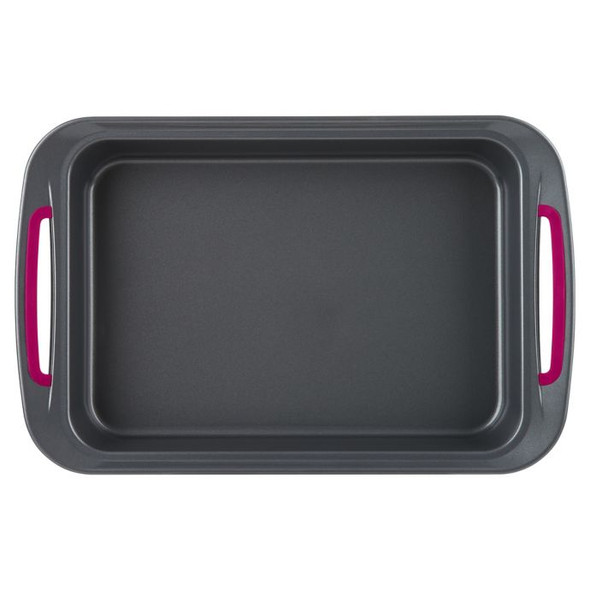 Trudeau® Nonstick 9-Inch x 13-Inch Carbon Steel Oblong Cake Pan in Grey/Fuchsia
