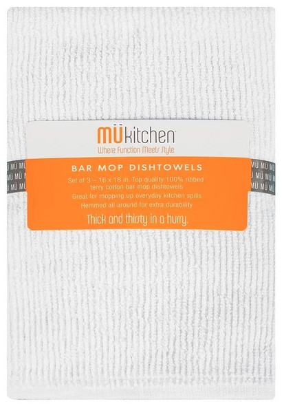 Mu Kitchen™ Bar Mop Dish Towels in White