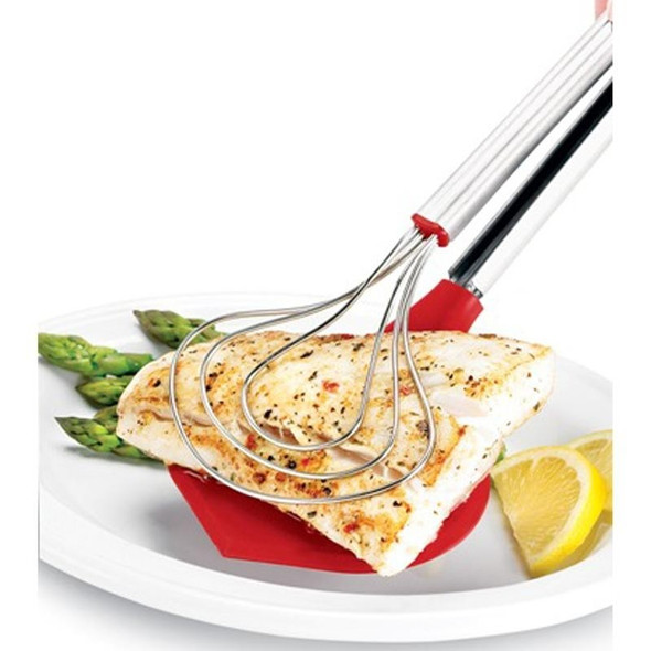 Cuisipro Stainless Steel and Silicone Fish Tongs in Red
