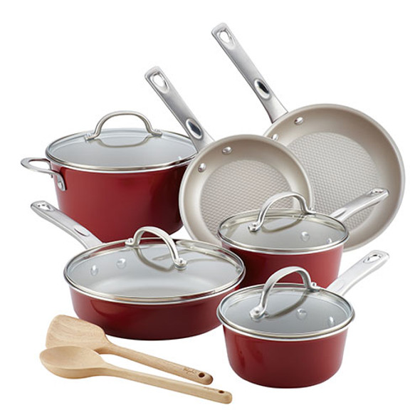 Ayesha Curry™ Porcelain Enamel Nonstick  12-Piece Aluminum Cookware Set in Sienna Red