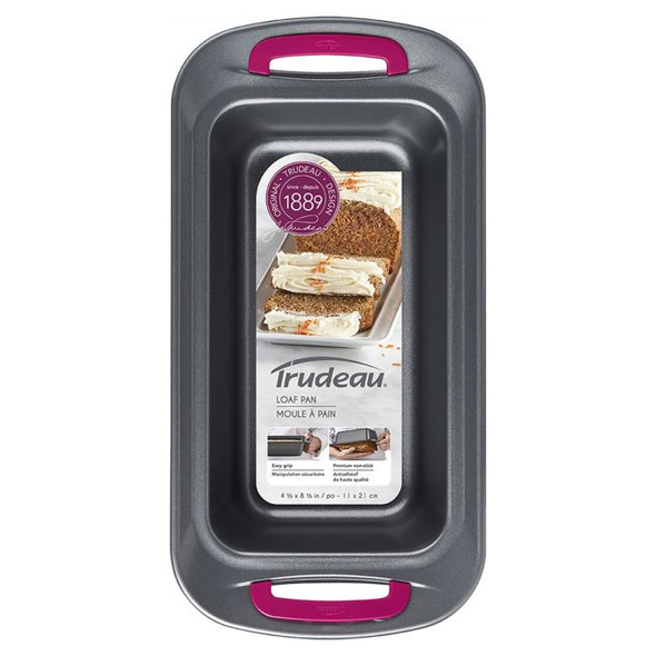 Trudeau Non-Stick 4.5-Inch x 8.5-Inch Carbon Steel Loaf Pan in Grey/Fuchsia