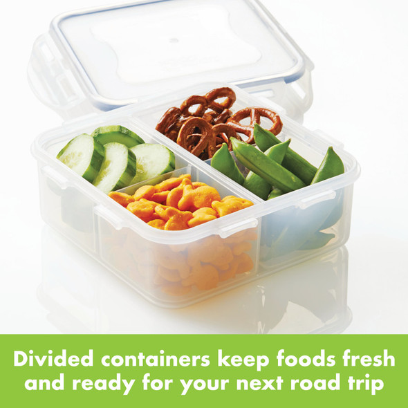 Lock & Lock Easy Essentials™ On The Go Meals 29-Ounce Divided Square Food Storage Container